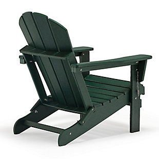Venice Folding Outdoor Poly Adirondack Chair, Green, large