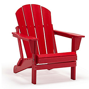 Venice Folding Outdoor Poly Adirondack Chair, Red, large