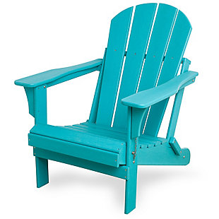 Venice Folding Outdoor Poly Adirondack Chair, Turquoise, rollover