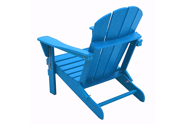 Venice Folding Outdoor Poly Adirondack Chair, Blue, large