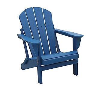 Venice Folding Outdoor Poly Adirondack Chair, Navy, rollover