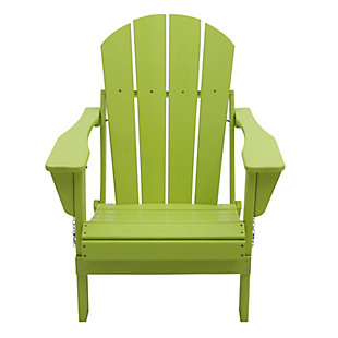 Venice Folding Outdoor Poly Adirondack Chair, Green, rollover