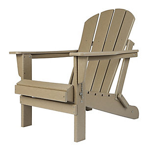 Venice Folding Outdoor Poly Adirondack Chair, Brown, rollover