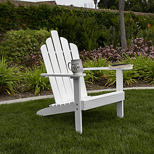 Monty Outdoor Patio Wood Adirondack Chair, White, rollover