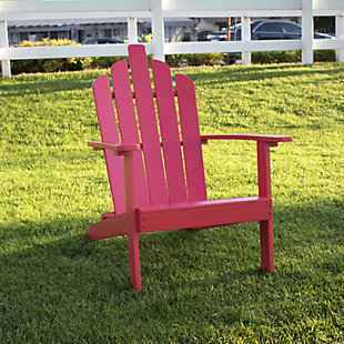 Monty Outdoor Patio Wood Adirondack Chair, Red, rollover