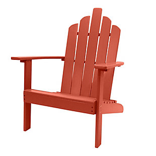 Monty Outdoor Patio Wood Adirondack Chair, Red, large