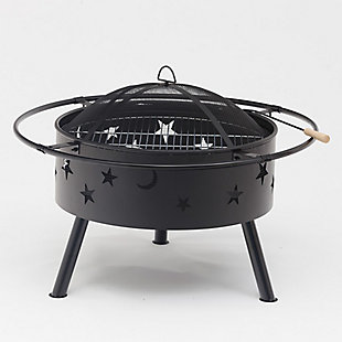 Westin Star & Moon Steel Wood Burning Round Fire Pit, , rollover