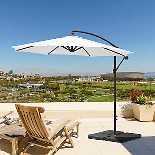 Henley 10' Outdoor Cantilever Hanging Patio Umbrella, White, rollover