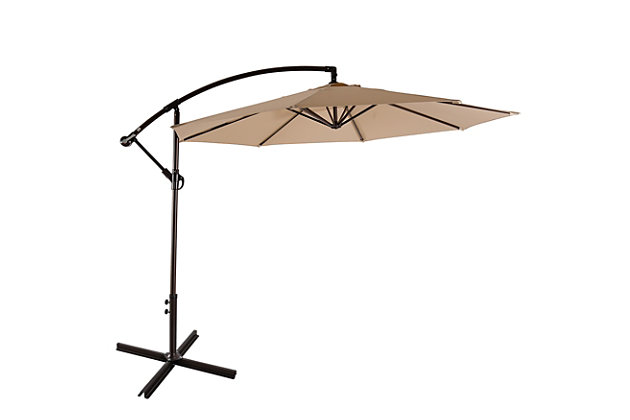 Henley 10' Outdoor Cantilever Hanging Patio Umbrella, Beige, large