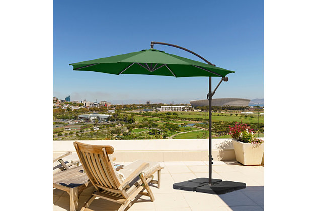 Henley 10' Outdoor Cantilever Hanging Patio Umbrella, Green, large