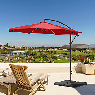 Henley 10' Outdoor Cantilever Hanging Patio Umbrella, Burgundy, rollover