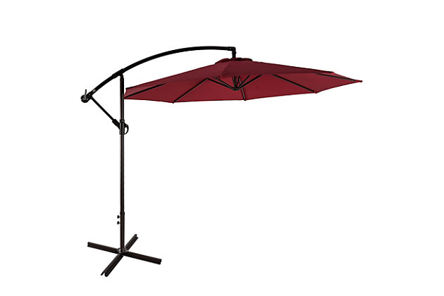Henley 10' Outdoor Cantilever Hanging Patio Umbrella, Burgundy, large