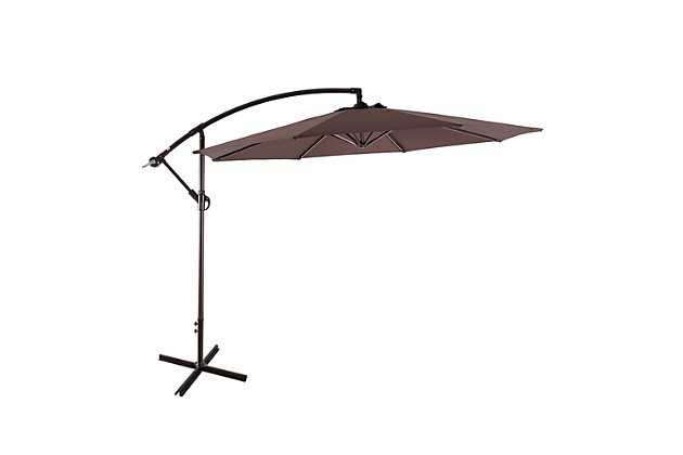 Henley 10' Outdoor Cantilever Hanging Patio Umbrella, Brown, large