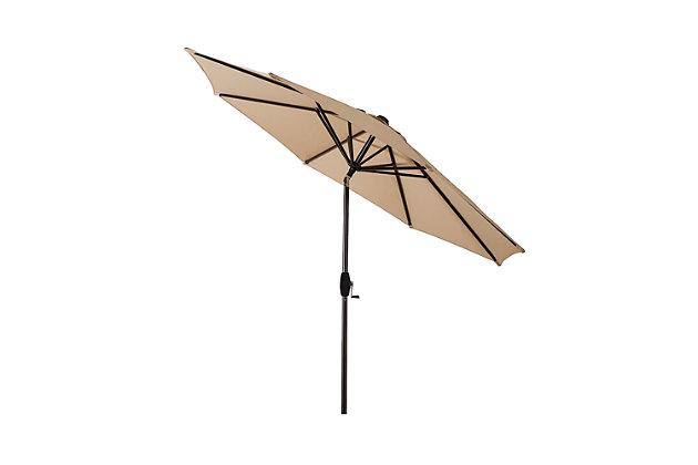 Belmont 9' Outdoor Patio Table Umbrella With Tilt And Crank, Beige, large