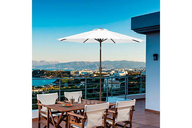 Belmont 9' Outdoor Patio Table Umbrella With Tilt And Crank, White, large