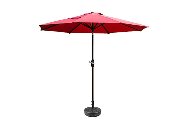 Belmont 9' Outdoor Patio Table Umbrella With Tilt And Crank, Red, large