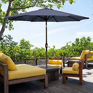 Belmont 9' Outdoor Patio Table Umbrella with Tilt and Crank, Navy, rollover