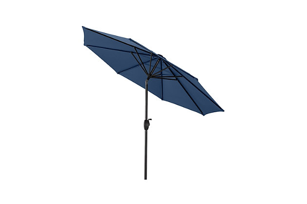 Belmont 9' Outdoor Patio Table Umbrella with Tilt and Crank, Navy, large