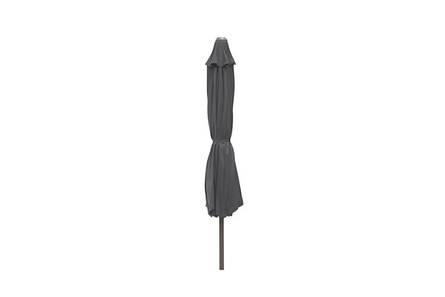 Belmont 9' Outdoor Patio Table Umbrella With Tilt And Crank, Gray, large