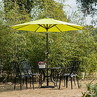 Belmont 9' Outdoor Patio Table Umbrella with Tilt and Crank, Green, rollover