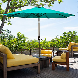 Belmont 9' Outdoor Patio Table Umbrella with Tilt and Crank, Turquoise, rollover