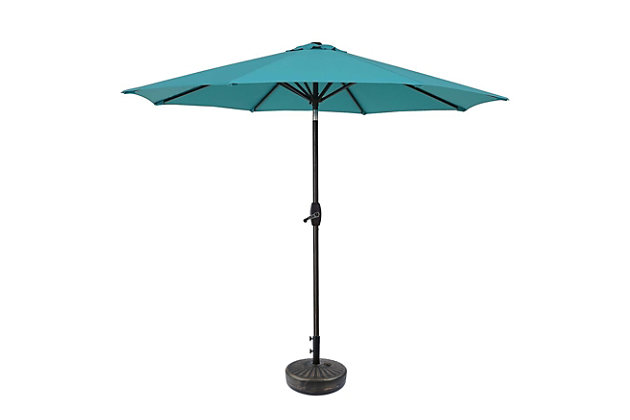 Belmont 9' Outdoor Patio Table Umbrella With Tilt And Crank, Turquoise, large
