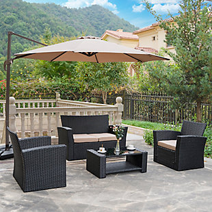 Blackwell 4-Piece Outdoor Patio Sofa Set with Cushions, Beige, rollover