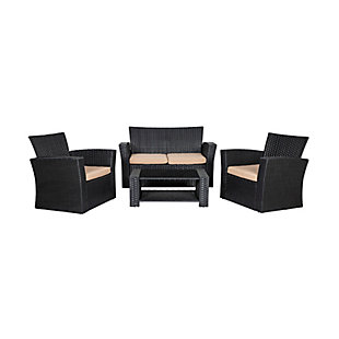 Blackwell 4-Piece Outdoor Patio Sofa Set with Cushions, Beige, large