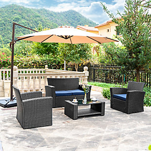 Blackwell 4-Piece Outdoor Patio Sofa Set with Cushions, Blue, rollover