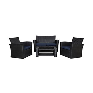 Blackwell 4-Piece Outdoor Patio Sofa Set with Cushions, Blue, large