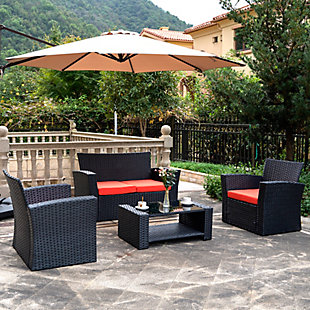 Blackwell 4-Piece Outdoor Patio Sofa Set with Cushions, Black/Orange, rollover