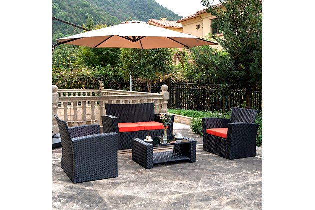 Blackwell 4-Piece Outdoor Patio Sofa Set with Cushions, Orange, large