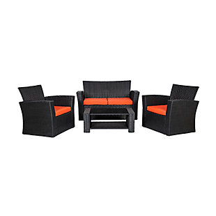 Blackwell 4-Piece Outdoor Patio Sofa Set with Cushions, Orange, large