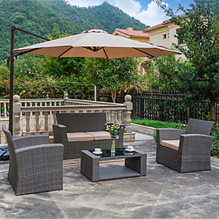 Greywell 4-Piece Outdoor Patio Sofa Set with Cushions, Beige, rollover
