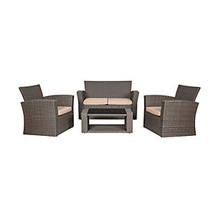 Greywell 4-Piece Outdoor Patio Sofa Set with Cushions, Beige, large