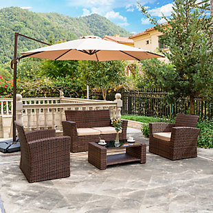 Brownwell 4-Piece Outdoor Patio Sofa Set with Cushions, Beige, rollover