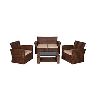 Brownwell 4-Piece Outdoor Patio Sofa Set with Cushions, Beige, large