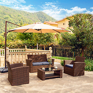 Brownwell 4-Piece Outdoor Patio Sofa Set with Cushions, Blue, rollover