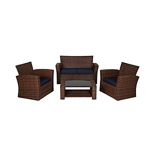 Brownwell 4-Piece Outdoor Patio Sofa Set with Cushions, Blue, large