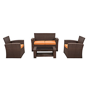 Brownwell 4-Piece Outdoor Patio Sofa Set with Cushions, Orange, rollover