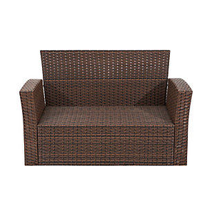 Brownwell 4-Piece Outdoor Patio Sofa Set with Cushions, Orange, large