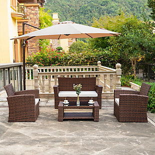 Brownwell 4-Piece Outdoor Patio Sofa Set with Cushions, White, rollover