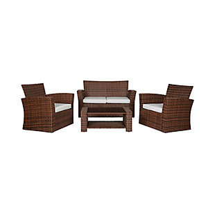 Brownwell 4-Piece Outdoor Patio Sofa Set with Cushions, White, large