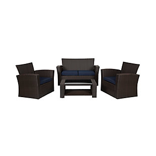 Westin 4-Piece Patio Sofa Set with Cushions, Brown/Blue, large
