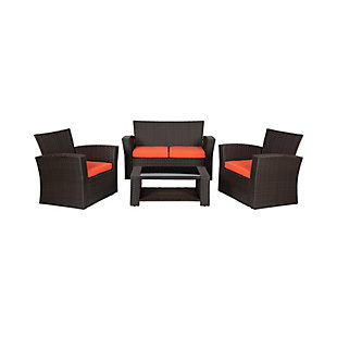 Westin 4-Piece Patio Sofa Set with Cushions, Brown/Orange, large