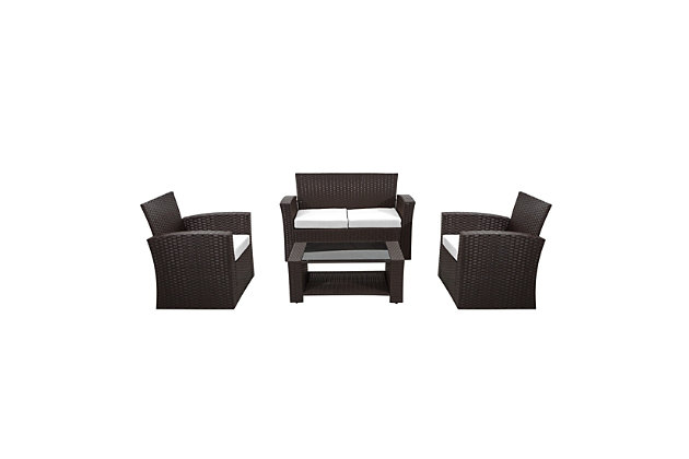 Chocwell 4-Piece Outdoor Patio Sofa Set with Cushions, White, large
