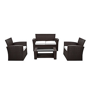 Chocwell 4-Piece Outdoor Patio Sofa Set with Cushions, Brown/White, large