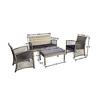 Chase 4-Piece Outdoor Woven Rattan Wicker Sofa Set, , large