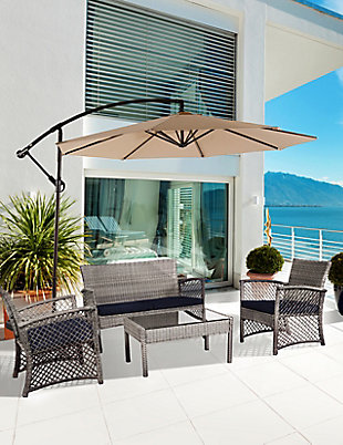 Chase 4-Piece Outdoor Woven Rattan Wicker Sofa Set, Gray/Navy, rollover