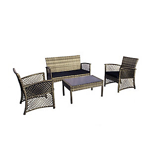 Chase 4-Piece Outdoor Woven Rattan Wicker Sofa Set, Gray/Navy, large